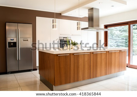 Conception of modern kitchen with household goods - stock photo