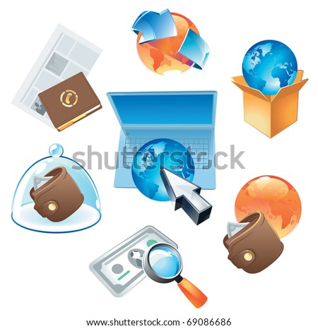Concepts for worldwide business, media and technology. Raster version. Vector version is also available. - stock photo