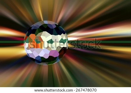 Conceptual abstract of a world with multicolored surface of irregular polygons surrounded by stellar radial blur, for illustration of metaphysical themes of origin, development and destiny - stock photo