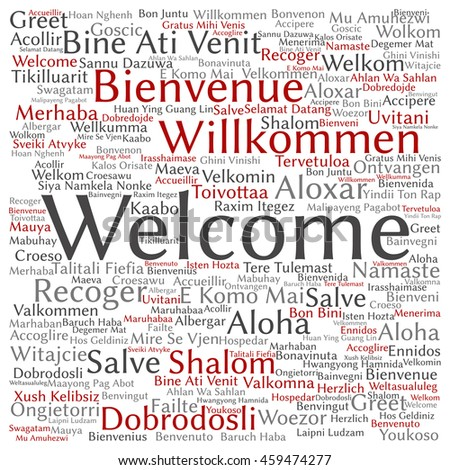 Conceptual abstract square welcome or greeting international word cloud in different languages or multilingual isolated metaphor to world, foreign, worldwide, travel, translate, vacation or tourism