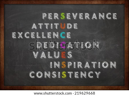 Conceptual acronym of the word success as described in business circle written on a chalkboard/blackboard - stock photo