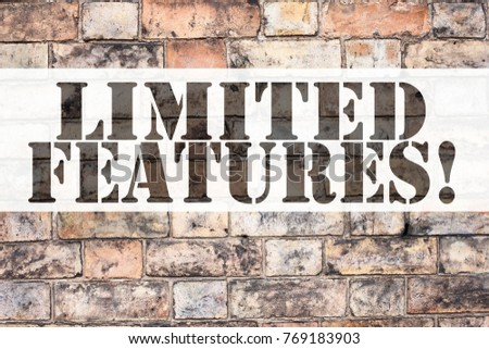 Conceptual announcement text caption inspiration showing Features. Business concept for Advertisement Advertising written on old brick background with copy space
