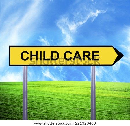 Conceptual arrow sign against beautiful landscape with text - CHILD CARE - stock photo