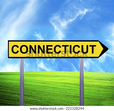 Conceptual arrow sign against beautiful landscape with text - CONNECTICUT - stock photo