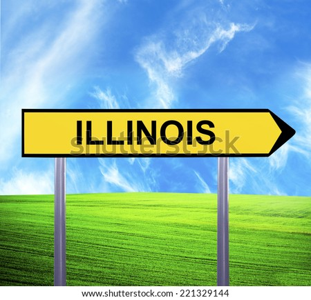 Conceptual arrow sign against beautiful landscape with text - ILLINOIS - stock photo
