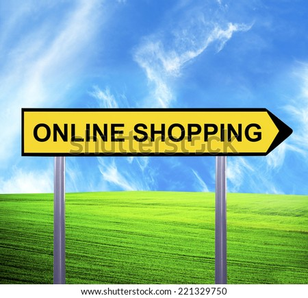 Conceptual arrow sign against beautiful landscape with text - ONLINE SHOPPING - stock photo