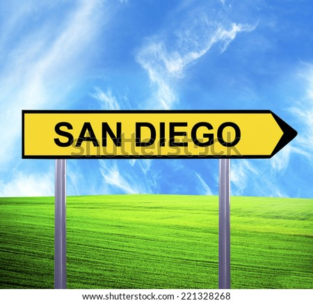 Conceptual arrow sign against beautiful landscape with text - SAN DIEGO - stock photo