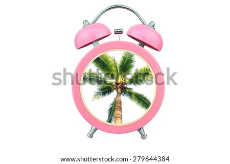 conceptual art : time to relax :coconut tree within pink alarm clock isolated on white background - stock photo