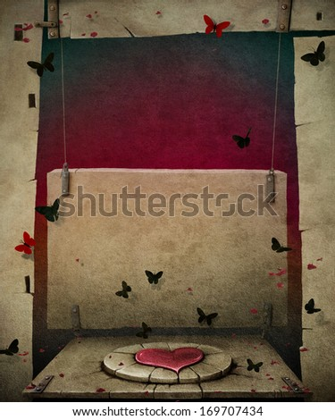 Conceptual background texture with flagstone and heart symbol - stock photo