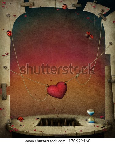 Conceptual background with hearts, illustration or poster.  - stock photo