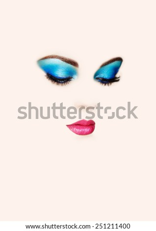 Conceptual beauty portrait of beautiful young woman. Eyelashes. Cosmetic Eyeshadows. Fashion beauty - stock photo
