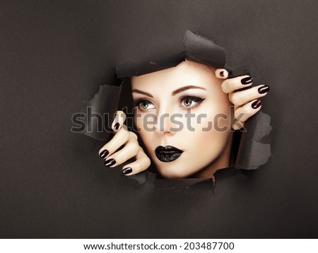 Conceptual beauty portrait of beautiful young woman. Perfect Manicure.  Cosmetic Eyeshadows. Fashion photo - stock photo