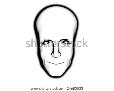 Conceptual big brained smart mans face. - stock photo