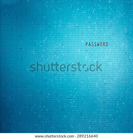 Conceptual blue colored binary code with password word illustration background. Safety computing binary code background. - stock photo
