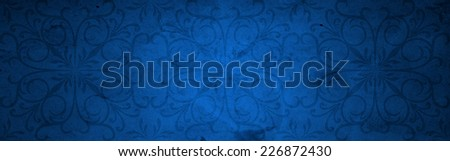 Conceptual blue old paper background, made of grungy or vintage texture stained or dirty surface ideal for holiday, Christmas, decoration or retro design with a pattern, decoration or ornament printed - stock photo