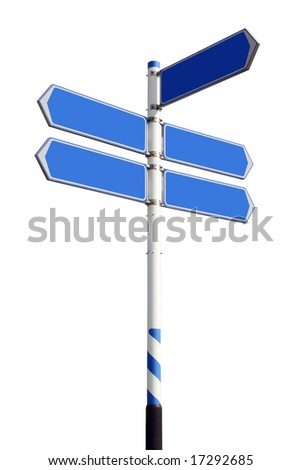 Conceptual blue roadsign with empty direction arrows for business solutions or locations, isolated on white background (with clipping path) - stock photo
