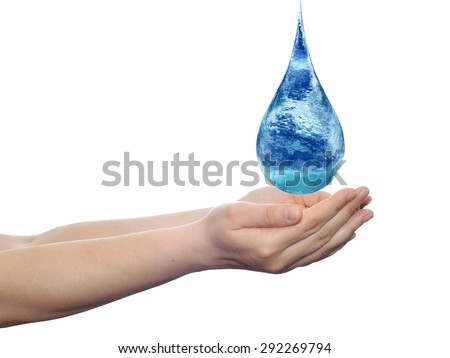 Conceptual blue water or liquid drop falling in two woman hands isolated on white background metaphor to nature, wet, purity, splash, fresh, spring, summer, pure, freshness, drink, eco, environment - stock photo
