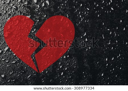 Conceptual broken heart and water drops