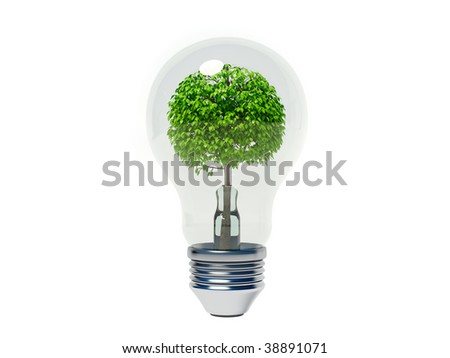 conceptual bulb with tree iside