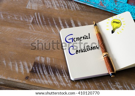 Conceptual Business Acronym GC General Conditions. Retro effect and toned image of a fountain pen on a notebook - stock photo