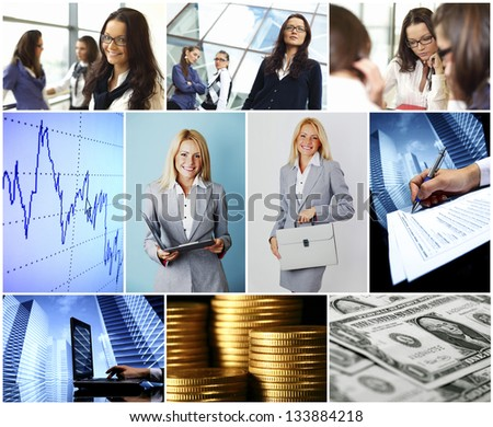 Conceptual business collage with busnesswomen - stock photo