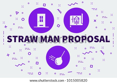 Conceptual Business Illustration Words Straw Man Stock Illustration