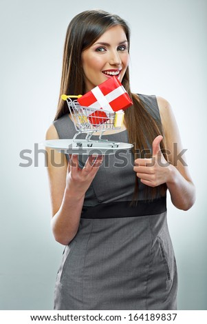 Conceptual business woman portrait.Thumb up.  Isolated on white .
