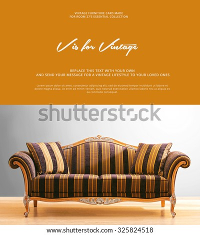 conceptual card design , with a vintage couch photo - stock photo