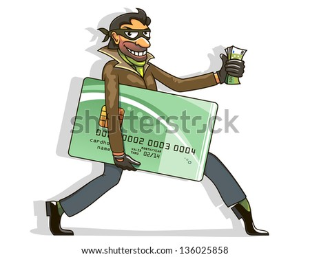 Conceptual cartoon of an evil thief or hacker stealing money from a bank card carrying a wad of cash in hand and the credit card under his arm as he walks along. Vector version also available - stock photo