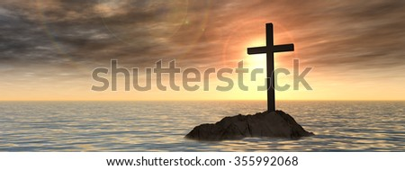 Conceptual Christian cross on a little rock island in the ocean sea with waves and the sky at sunset for God, Christ, Christianity, lige, religious, faith, holy, spiritual, Jesus, belief resurection - stock photo