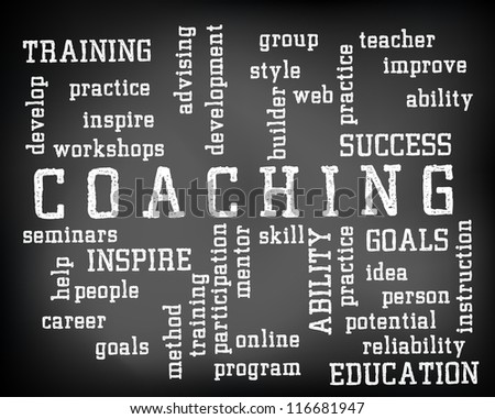 Conceptual coaching word cloud written on black chalkboard and white chalk. Presentation template.