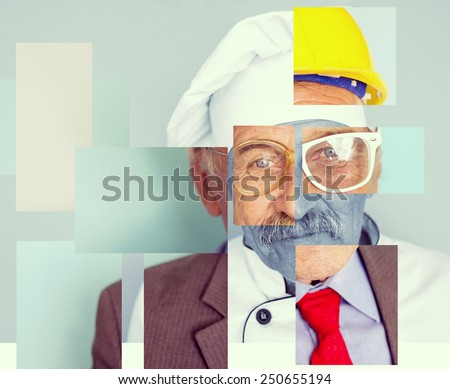Conceptual collage image of one man with different professions - stock photo