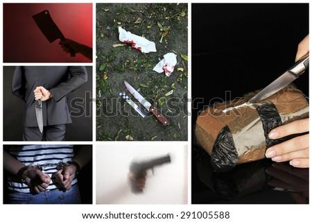 Conceptual collage of crime - stock photo