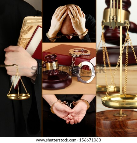 Conceptual collage of litigation - stock photo