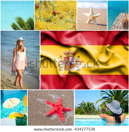 Conceptual collage of summer vacation in Spain - stock photo