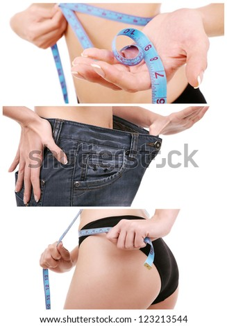 Conceptual collage of woman showing how much weight she lost - stock photo