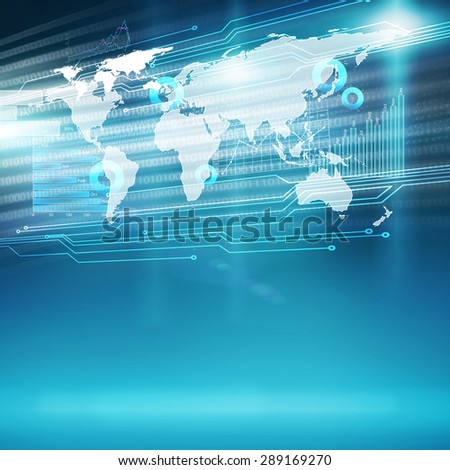 Conceptual color background image with global interaction concept - stock photo