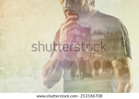 Conceptual Composite Image of Adult Lonely Man Remembering Something from his Past, Hand on Chin. - stock photo