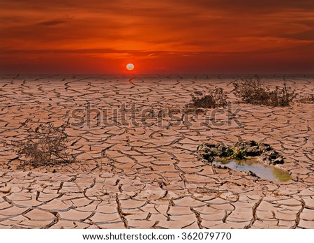 Conceptual composite image symbolizing a drastic change in climate of our planet - stock photo