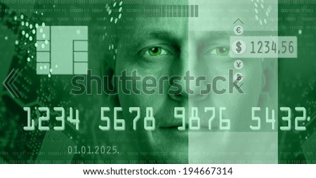 Conceptual composition depicting online electronic commerce and digital technology. Included are currency symbols, electronic chip, man portrait. Toned green. - stock photo