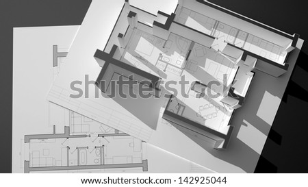 conceptual composition with architectural plans and construction elements - stock photo