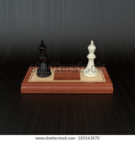 conceptual composition with special set of chess on dark background - stock photo