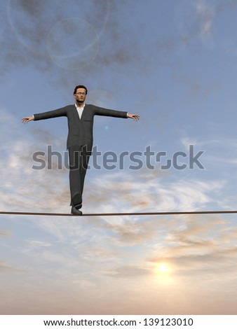 Conceptual concept of businessman or man in crisis walking in balance on rope over sunset sky background,metaphor to business,danger,risk,risky,finance,fall,dangerous,equilibrium,hazard or success - stock photo
