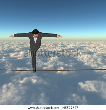 Conceptual concept of 3D businessman or man in crisis walking in balance on rope above clouds sky background,metaphor to business,danger,risk,risky,finance,fall,dangerous,equilibrium,hazard or success