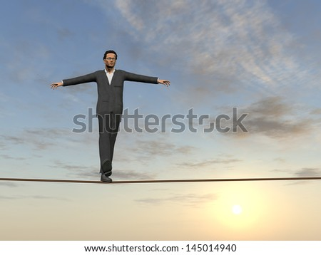 Conceptual concept of 3D businessman or man in crisis walking in balance on rope over sunset sky background,metaphor to business,danger,risk,risky,finance,fall,dangerous,equilibrium,hazard or success - stock photo