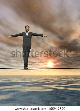 Conceptual concept of 3D businessman or man in crisis walking in balance on rope over sunset sky and water background,metaphor to business,danger,risk,risky,finance,fall,dangerous,hazard or success