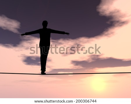 Conceptual concept of 3D businessman or man silhouette in crisis walking in balance on rope over sunset sky background for business, danger, risk, risky, finance, fall, equilibrium, hazard or success