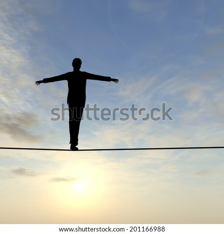 Conceptual concept of 3D businessman or man silhouette in crisis walking in balance on rope over sunset sky background - stock photo