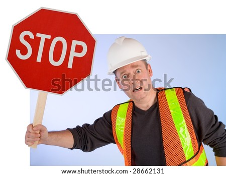 Conceptual Construction Worker Asking to Stop Doing Something - stock photo