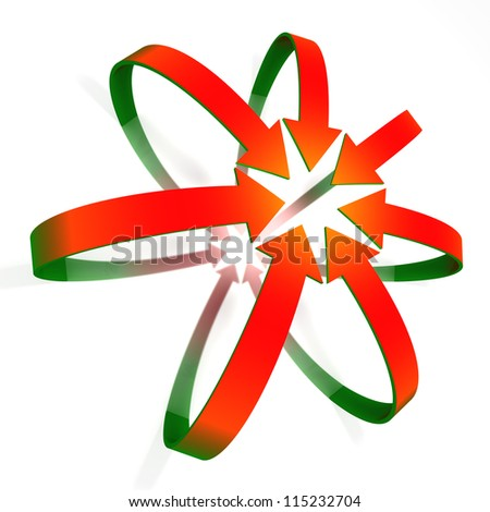 Conceptual convergent red to green gradient 3d arrows isolated on white background - stock photo